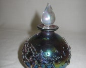 Carnival Amethyst  Color Glass Perfume Cologne With Clear Glass Stopper Decanter Bottle Up Raise Design