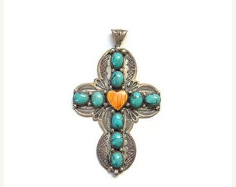 ON SALE Native American Turquoise Spiny Oyster Heart Cross Pendant Sterling Silver Signed G