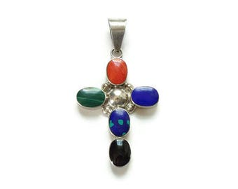 Taxco Multi Gemstone Sterling Silver Religious Cross Pendant Necklace Hallmarked 925 Mexico