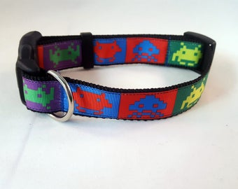 Dog Collar -Adjustable - Atari Space Invaders Inspired