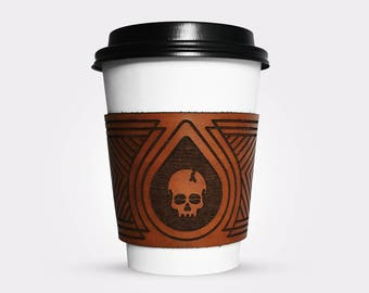 Death Before Decaf Leather Coffee Sleeve