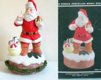 Vintage Santa Music Box 1980s Seymour Mann Bisque Porcelain Santa is Coming to Town