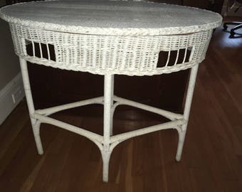 Lovely Vintage Oval Wicker Table