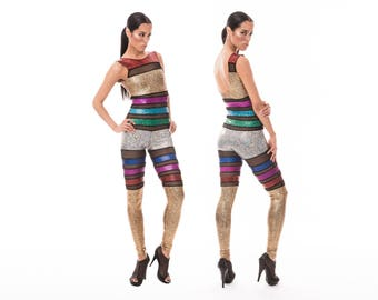 Rainbow Stripe Catsuit, Holographic Jumpsuit, Burning Man, Festival Clothing, Rave, Dance Outfit, Contortion Catsuit, Circus, by LENA QUIST