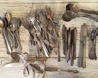 Mismatched Vintage Flatware - Over 70 Pieces - Shabby Chic, Tarnished, Wedding Antique Silverware