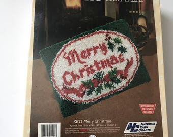 "Latch Hook Kit MERRY CHRISTMAS National Yarn Crafts 18"" x 24"""