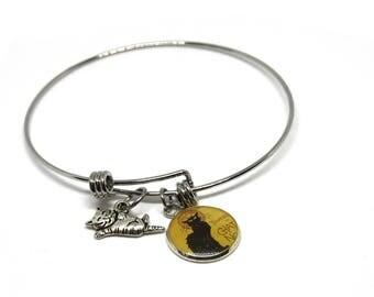 Le Chat Noir Bangle, Cat Bangle Bracelet,Circle Bracelet,Bracelets,Charms Bracelets,Steinless Steel Bracelet,Anallergic Bracelet,Cats Charms
