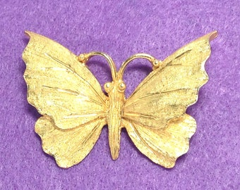 Signed Butterfly Brooch by BSK Gold Tone Costume Jewelry