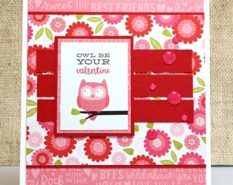 Owl Valentine- Valentine's Day Card- Pink Owl- Cute Valentine Card- Owl Card