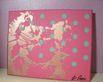 Original Sleepy Kitty Painting by Jessica Pope - Pink with Blue Polka Dots & Rose Gold Cat on 8x10 Canvas