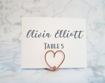 set of 5 wire escort card holder wire table number holder name card