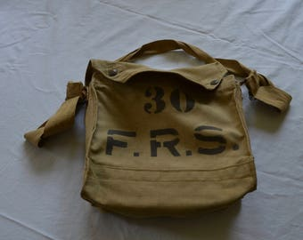 Canvas Bag Vintage Gas Mask F.R.S.Forestry Purse