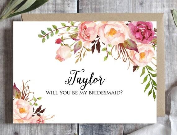Bridesmaid proposal card Template, Will you be my bridesmaid ...