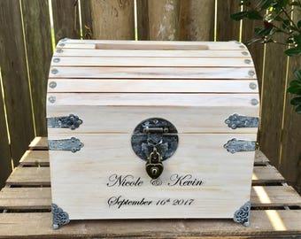 """Wedding Card Box - 10"""" Lockable Wedding Card Box - Wedding Card Box With Slot - Wedding Chest - Keepsake Box - Personalized Wedding Card Box"""