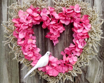 Valentine Wreath , Heart Wreath , Valentine Day Wreath ,   Valentine decor , Dried Wreath , Heart Shaped Wreath , ready to ship