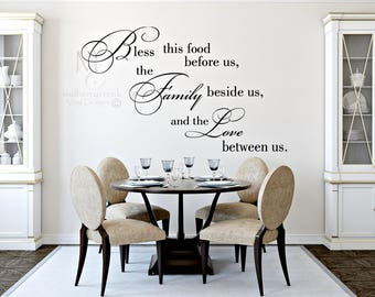 Bless This Food Wall Decal, Dining Room Signs Decal, Kitchen Decor Wall Decal,  Love Between Us Wall Decal, Family Wall Decals, Vinyl Decals