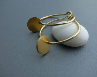 Gold Disc Gold Hoop Earrings