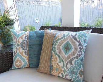 Outdoor Pillow - Ikat Pillow - Screened Porch Pillow - Blue Pillow - Aqua Pillow -  Beige Tan Pillow - Stripe Pillow - Patio Pillow