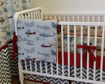 SUMMER SALE-- Airplane Baby Bedding-Boy Crib Bedding MADE To Order- Vintage Airplane Crib Bedding Set