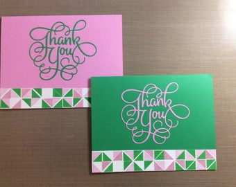 Pink and Green: Thank You Note Cards