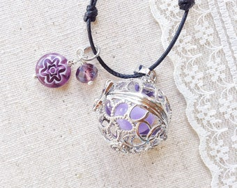 bola, angel caller necklace, purple bola harmony ball pregnancy baby shower gift for daughter, sister, best friend, mexican bola pendant