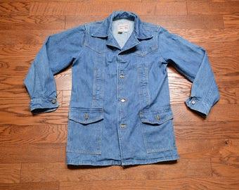 vintage Lee denim jacket 60s 70s Storm Rider jean jacket butterfly collar made USA 1960 1970 denim jacket M/L