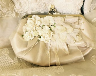 Vintage Satin Bride's Clutch with Embellished Blooms