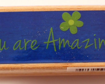 You are Amazing Words Writing Hampton Art Studio G Wooden Rubber Stamp