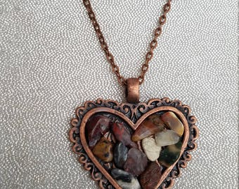 Unique Natural Stone Copper Heart  Pendant
