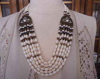 Vintage Multi Strand Off-White Beaded Necklace w/ Antique Brass Accents