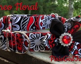 Red Dog Collar, Black  Dog Collar, Floral Dog Collar, Elegant Dog Collar, Dog Collar with Flower, Dog Collar, Dog Collar for Girls