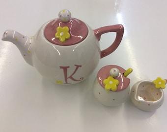 Summer Blossom Personalized Teapot, creamer &Sugar set