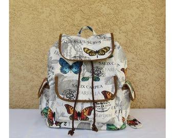 Butterfly Backpack - Rucksack - Knapsack - Orange, Blue, Yellow & Green Butterflies
