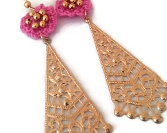 Crochet Earrings, Beaded Earrings, Beaded Crochet Earrings, Pink Earrings, Filigree Earrings, Dangle Earrings, Fiber Earrings, Metal Charms
