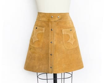 Vintage 60s Skirt - Brown Suede Button Up Leather Mini Skirt 1970s - Small