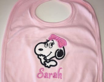 Personalized Snoopy Belle Baby Bib Embroidered Monogrammed
