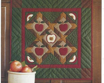 Apples Wallhanging Quilt Kit All Fabrics Including Applique, Background, Back & Binding Plus Batting Design by Rachel T Pellman 22 x 22