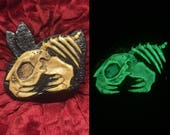 Glow in the dark killer bunny skeleton brooch