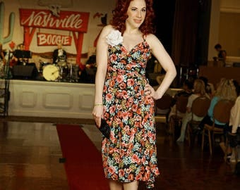 Date with my City Dress in Black Rose Print - Made in the USA - Cocktail Party Pinup Pin Up Retro Floral Formal Bridesmaid