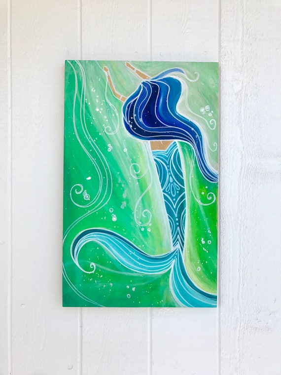 Magical Mermaid Original Painting on Wood Canvas by Lauren Tannehill Art