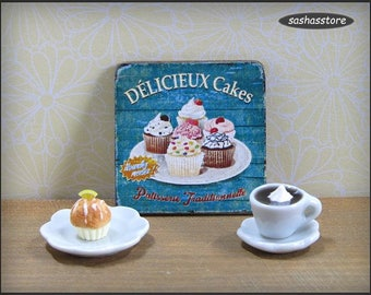 Dollhouse cupcake sign, wooden sign, dollhouse miniature, bakery or patisserie advertising sign, 12th scale