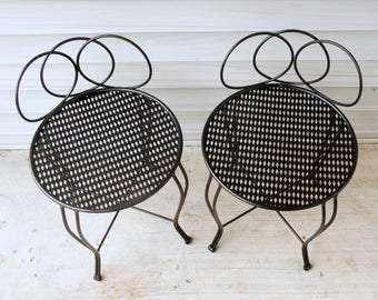 Vintage Vanity Stool, Punched Metal Chair, Outdoor Furniture, Black Garden Seat, Upcycled Plant Stand