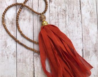 Long Sari Silk tassel necklace. Rust orange. Fabric Tassel Necklace. Boho glam. Tassel necklace. Jasper brown beads.