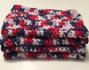 4 Large dish cloths/ dish rags/ wash cloths made with 100% cotton yarn in the color America