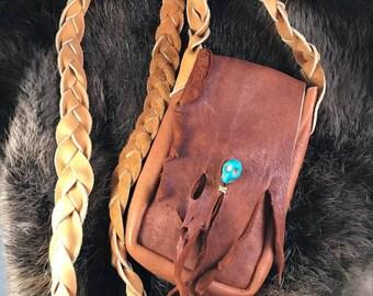 Deer skin leather bag