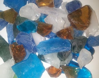 Sea Glass Beach Glass 1 bags approx 1 lb  Blue ,Green ,Clear frosted White, Amber or pink , Aqua blue Tumbled Glass