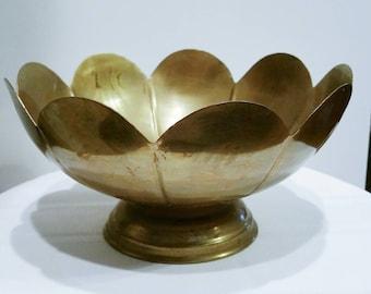 Vintage Brass Pedestal Bowl Brass Pedestal Bowl Lotus Pedestal Bowl Vintage Wedding Vintage Brass Fruit Bowl Flower Pot Planter Home Decor