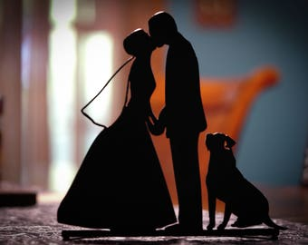 Bride and Groom with Dog Table Decor