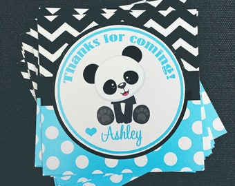 Panda Boy Tags Personalized Printable or Printed with FREE SHIPPING - Calling Cards,Gift Tags,Party Favors, Tags -  Panda Blue Collection
