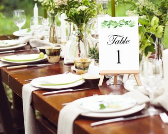 """Greenery Table Number Cards 5x7"""" Printed - Greenery Collection"""